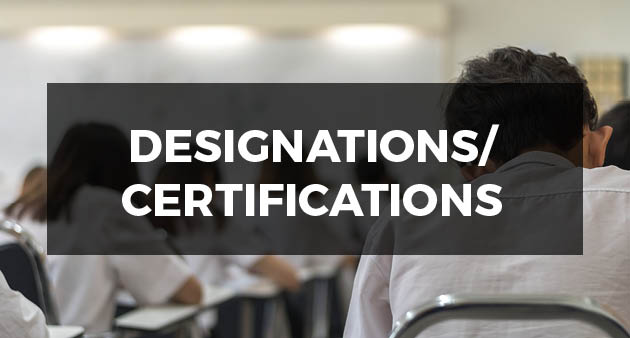 designations and certificates showing people in class