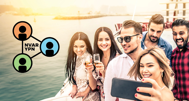young people taking selfie on boat