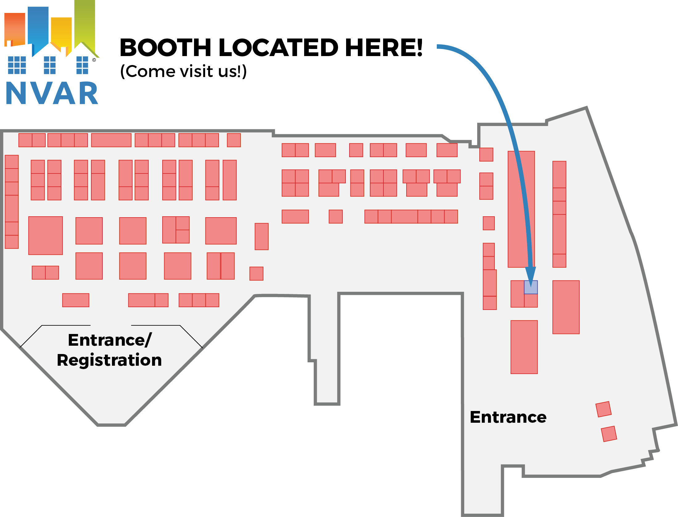 map of trade expo with nvar booth highlighted
