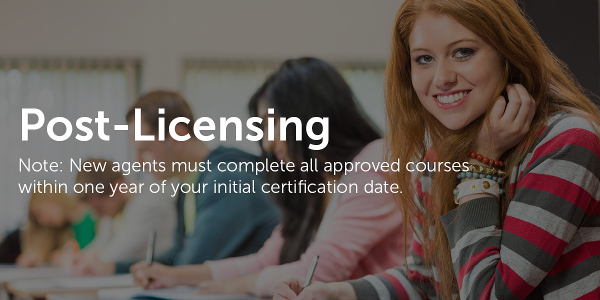post licensing banner. note: all pl courses must be completed within one year of licensure