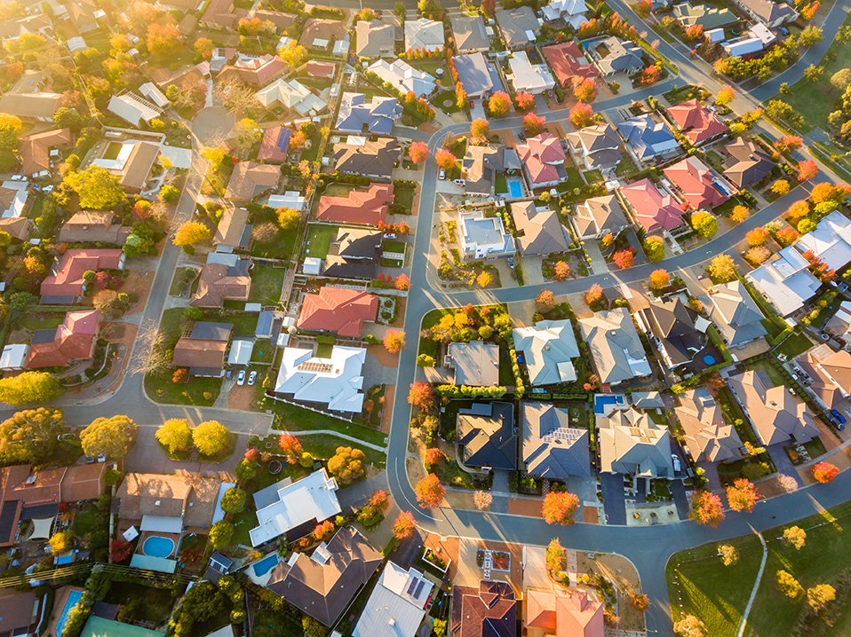 aireal view of suburbs